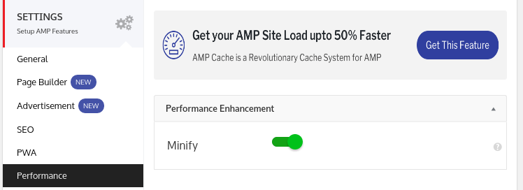 configurações de performance no plugin amp for wp