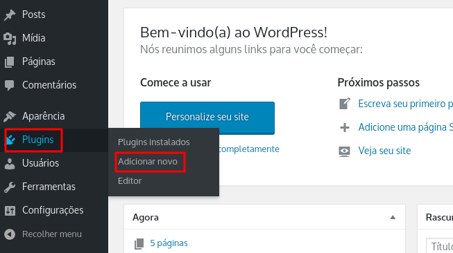 adicionar novo plugin no wordpress