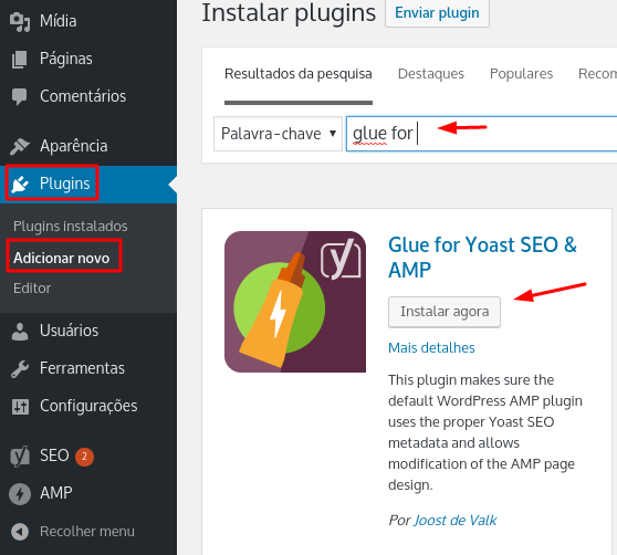 instalar plugin glue for yoast seo & amp