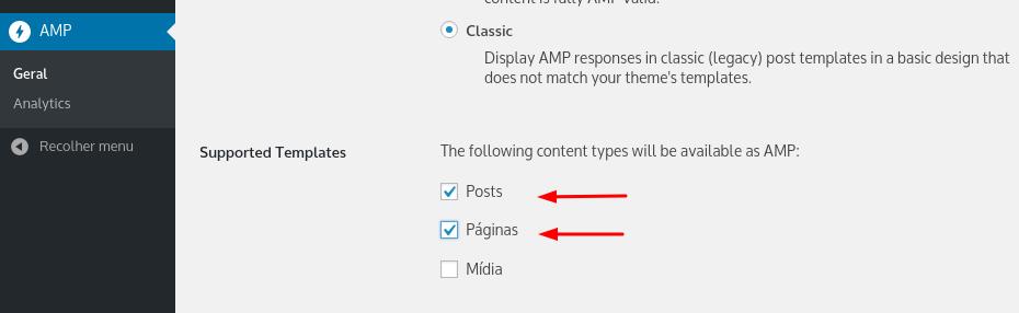 configurar amp para posts e páginas