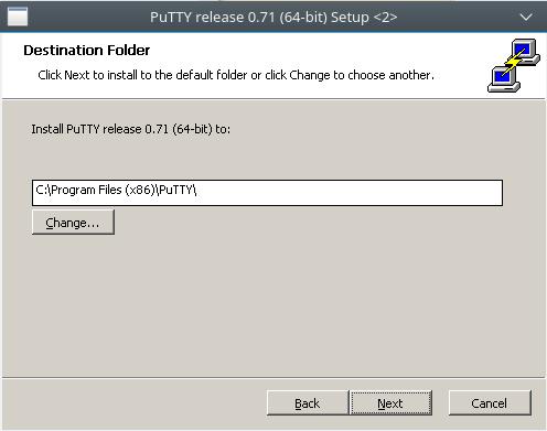 diretório para salvar putty no sistema operacional