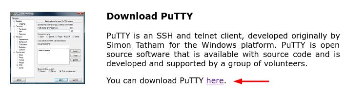 download do putty ssh