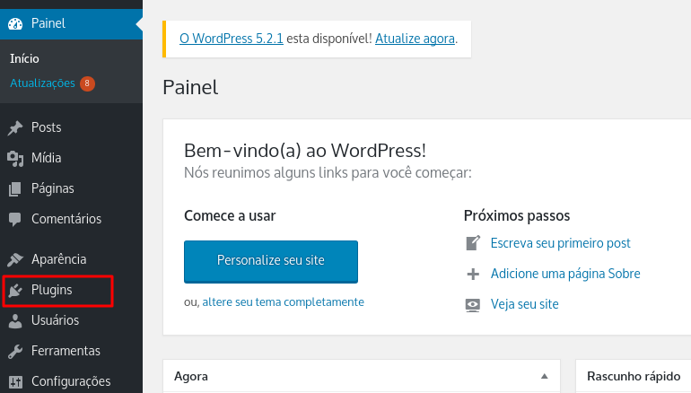 aba de plugins no WordPress