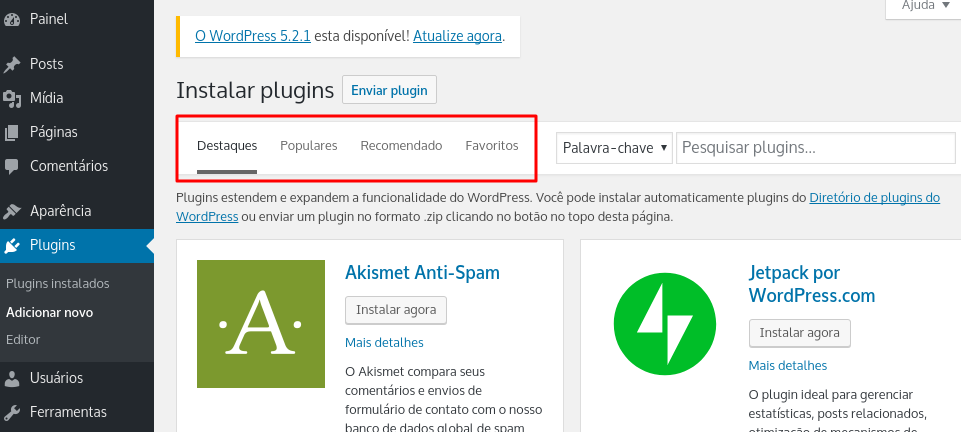 categorização de plugins no wordpress