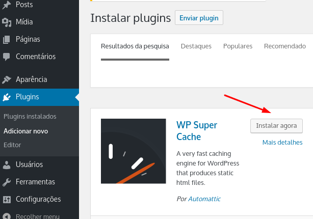 instalar e ativar plugin no wordpress