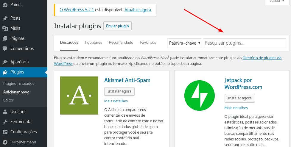 pesquisar plugins no wordpress