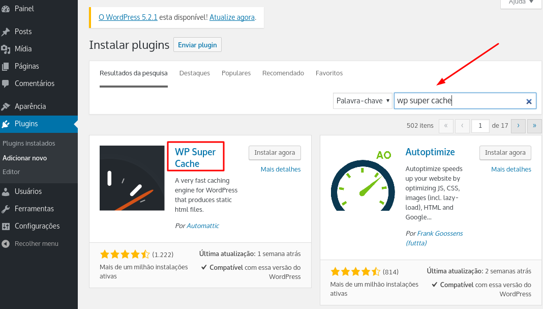 plugin wp super cache para wordpress