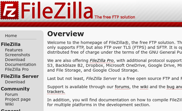 tela inicial do cliente filezilla