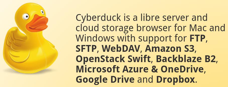 tela inicial do programa de ftp cyberduck