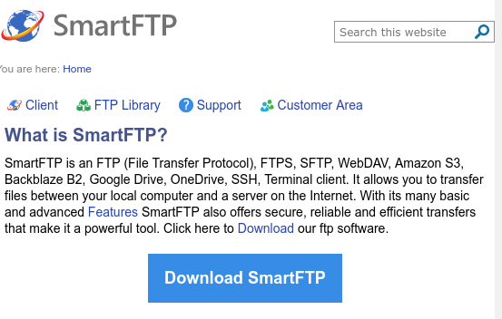 tela de abertura do smartftp