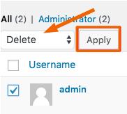 apagar admin e usuário antigo no wordpress