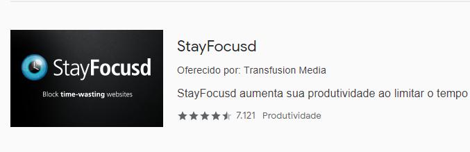 print da extensão StayFocused