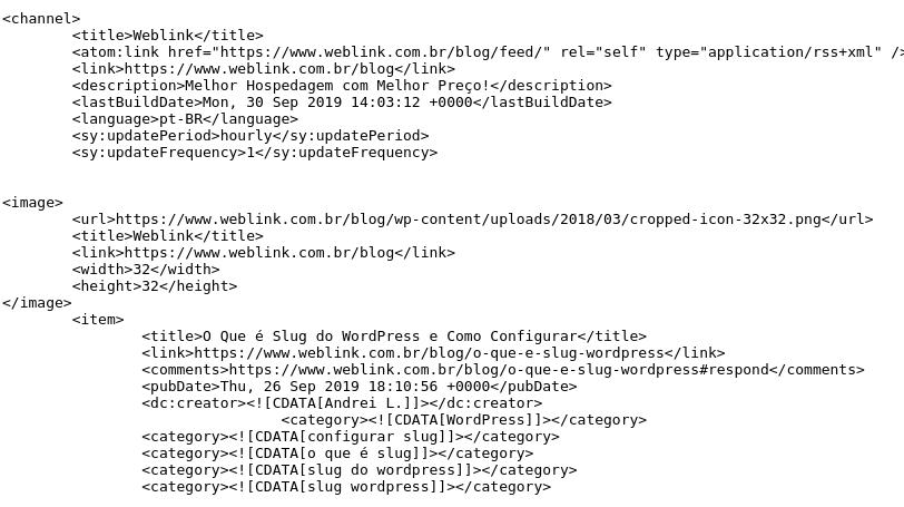 documento xml de feed de página de blog