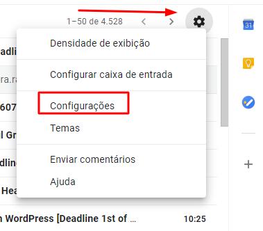 opção de configuração de emails no Gmail