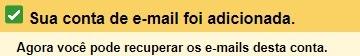 mensagem de confirmação de nova conta de email adicionada no Gmail