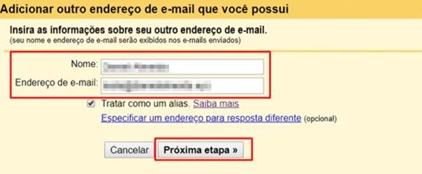 detalhes de email para configurar envios no Gmail