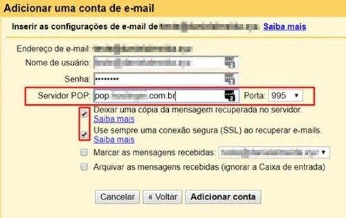 inserir detalhes de recebimento de email no Gmail