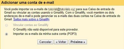 opção de importar dados POP3 de recebimento de email