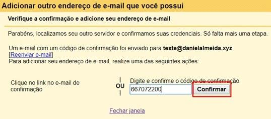 verificação de novo email adicionado no Gmail