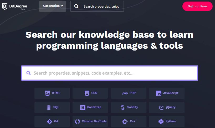 página inicial do BitDegree com cursos de linguagens de programação