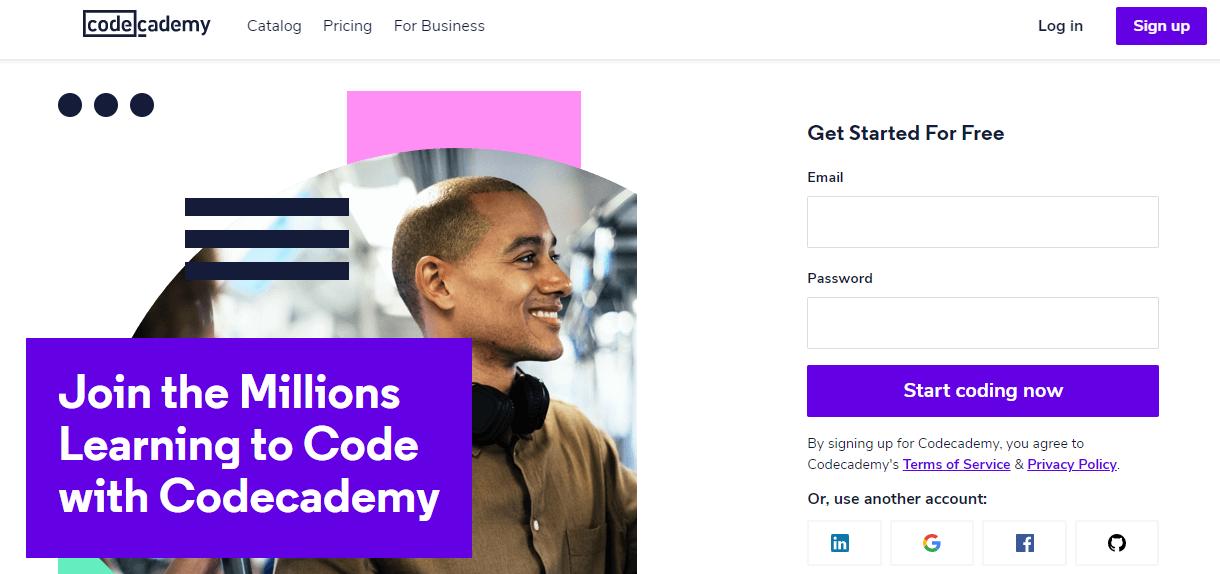 página inicial do Code Academy com opções de curso de programação