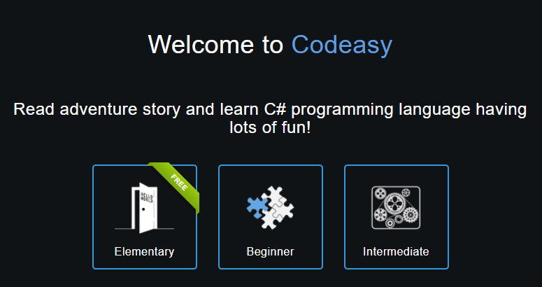 página inicial da Codeasy com opções de cursos para programar