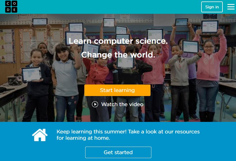 página inicial do Code.org para aprender programação