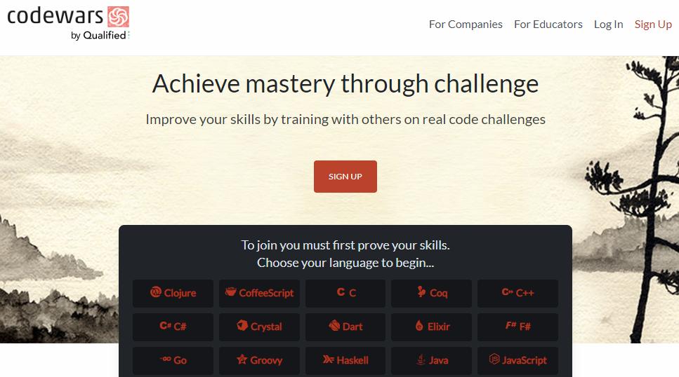 opções de cursos de programação na página inicial do Codewars