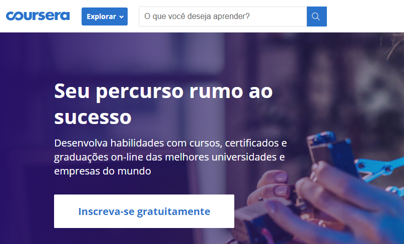 página inicial do site Coursera com cursos online de programação