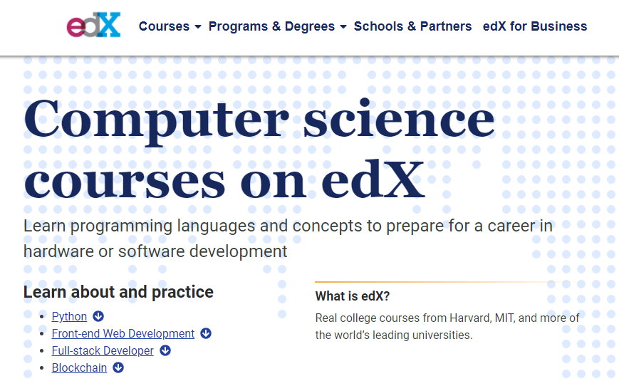 página inicial da plataforma edX com cursos de programação