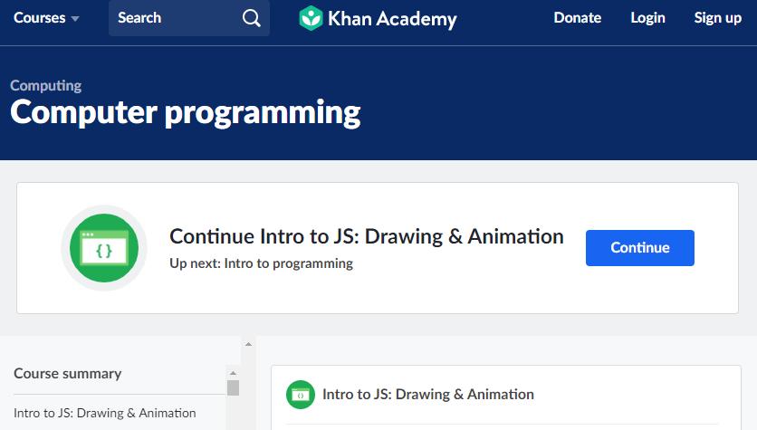 página inicial da Khan Academy para cursos de programação