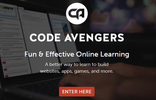 primeira página do site Code Avengers
