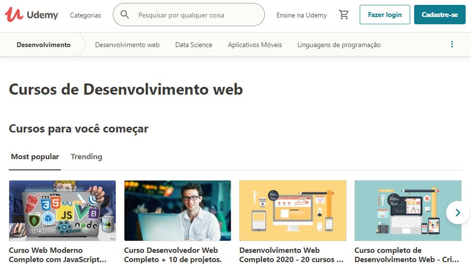 página de cursos de programação da Udemy