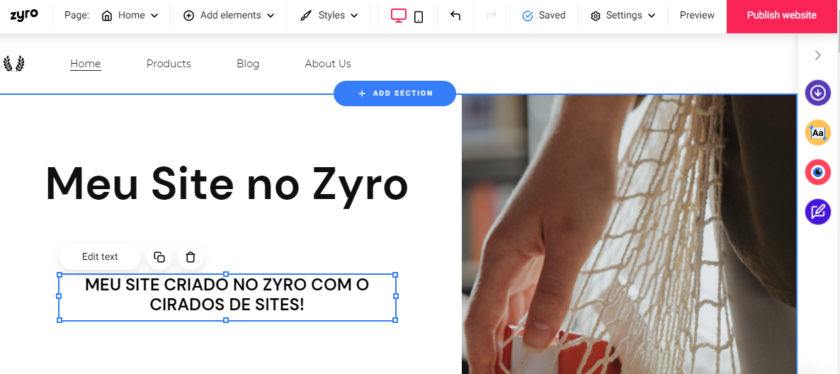 ferramentas do criador de sites do Zyro