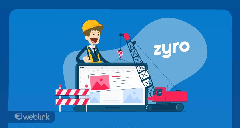 usuário explora as ferramentas do criador de sites zyro