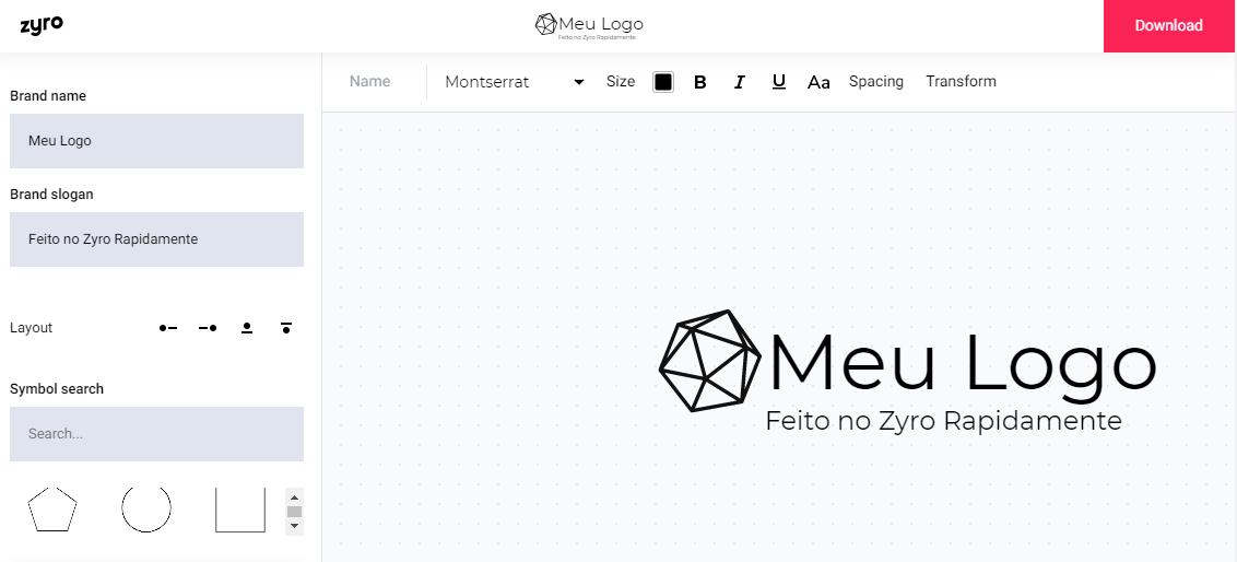 ferramenta do criador de logos do Zyro